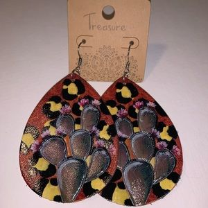 Jewelry - Leather Cactus Earrings Cowgirl Leopard